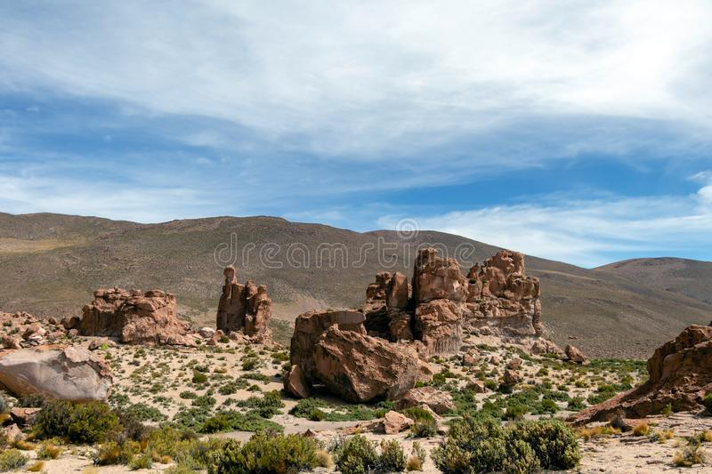 Bolivia: red rock formations of the Italia Perdida, or lost Italy, in Eduardo Avaroa Andean Fauna National Reserve. Landscape with red Rock formations called royalty free stock photos