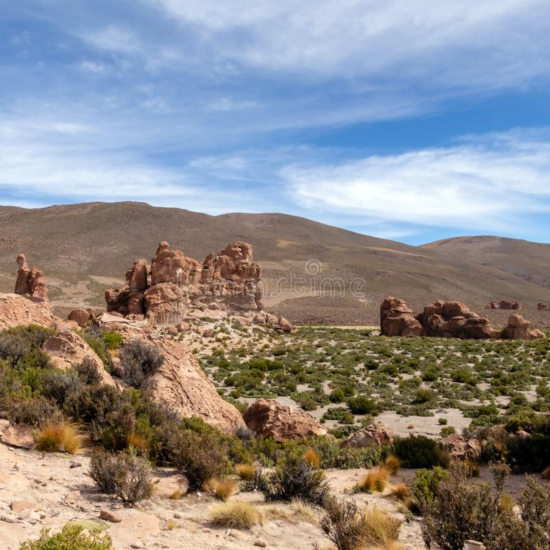 Bolivia: red rock formations of the Italia Perdida, or lost Italy, in Eduardo Avaroa Andean Fauna National Reserve. Landscape with red Rock formations called royalty free stock photo