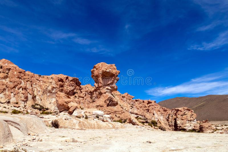 Bolivia: red rock formations of the Italia Perdida, or lost Italy, in Eduardo Avaroa Andean Fauna National Reserve. Landscape with red Rock formations called stock photos