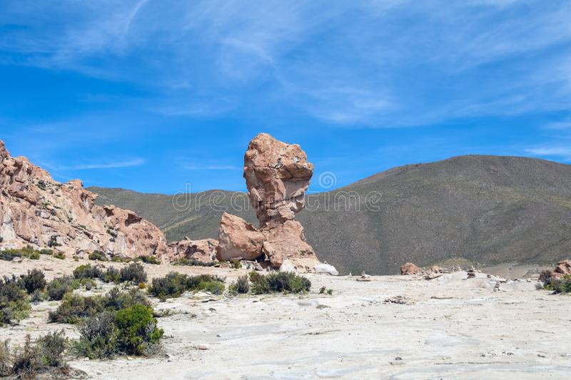 Bolivia: red rock formations of the Italia Perdida, or lost Italy, in Eduardo Avaroa Andean Fauna National Reserve. Landscape with red Rock formations called royalty free stock image