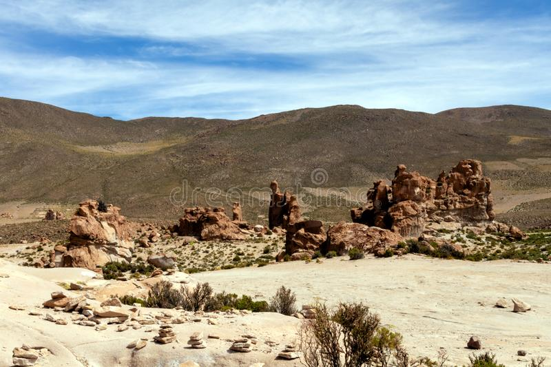 Bolivia: red rock formations of the Italia Perdida, or lost Italy, in Eduardo Avaroa Andean Fauna National Reserve. Landscape with red Rock formations called stock image