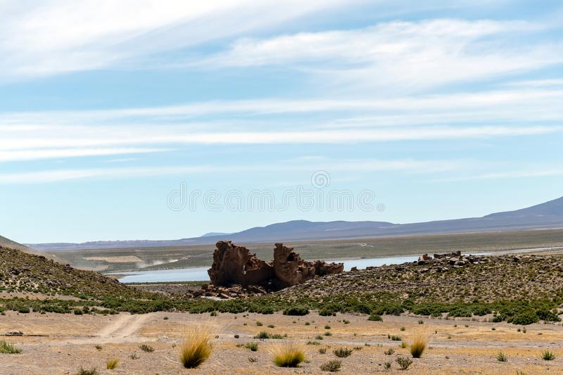 Bolivia: red rock formations of the Italia Perdida, or lost Italy, in Eduardo Avaroa Andean Fauna National Reserve. Landscape with red Rock formations called stock photography