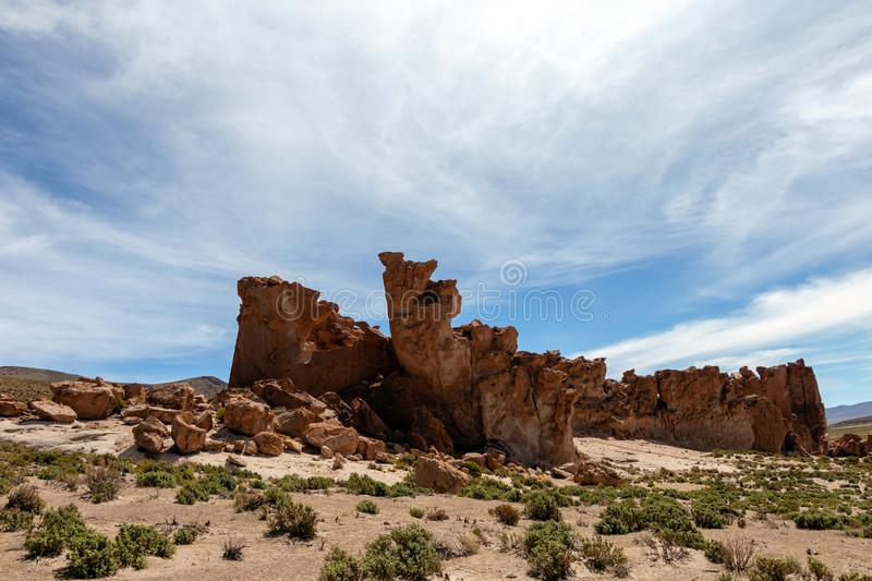 Bolivia: red rock formations of the Italia Perdida, or lost Italy, in Eduardo Avaroa Andean Fauna National Reserve. Landscape with red Rock formations called royalty free stock images