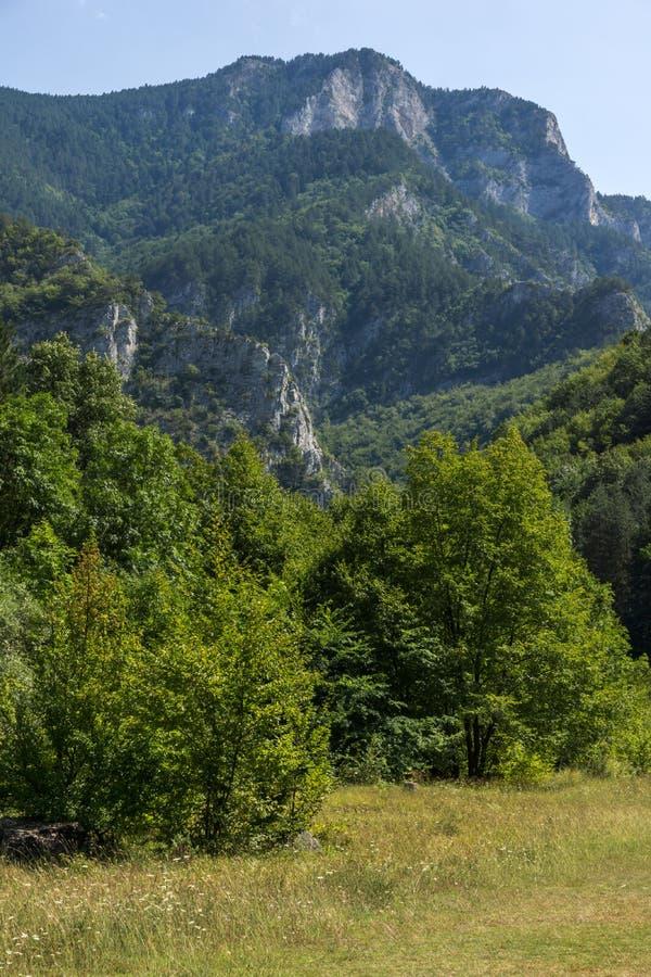 Landscape of The Red Wall peak near Bachkovo Monastery in Rhodope Mountains, Plovdiv Region, Bulgaria. Amazing Landscape of The Red Wall peak near Bachkovo royalty free stock photo