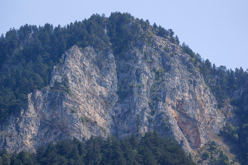 Landscape of The Red Wall peak near Bachkovo Monastery in Rhodope Mountains, Plovdiv Region, Bulgaria. Amazing Landscape of The Red Wall peak near Bachkovo stock image
