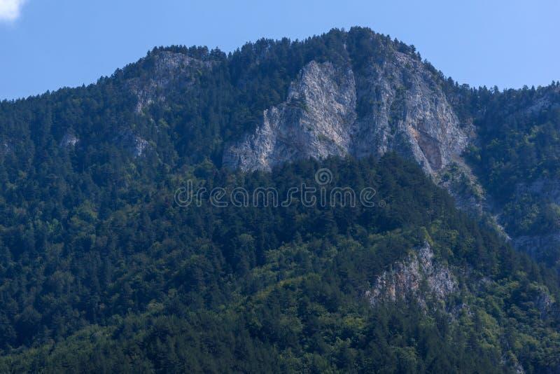 Landscape of The Red Wall peak near Bachkovo Monastery in Rhodope Mountains, Plovdiv Region, Bulgaria. Amazing Landscape of The Red Wall peak near Bachkovo royalty free stock image