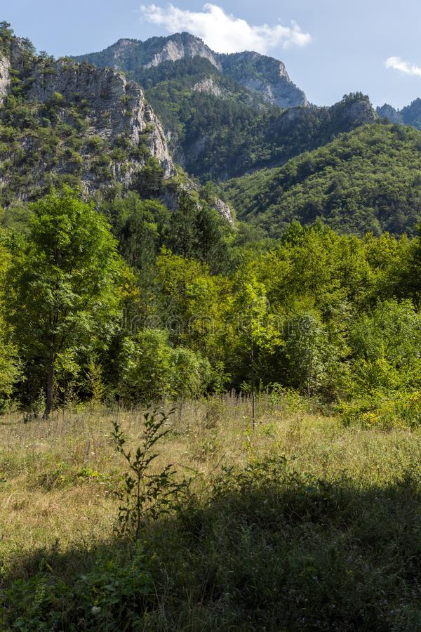 Landscape of The Red Wall peak near Bachkovo Monastery in Rhodope Mountains, Plovdiv Region, Bulgaria. Amazing Landscape of The Red Wall peak near Bachkovo royalty free stock images