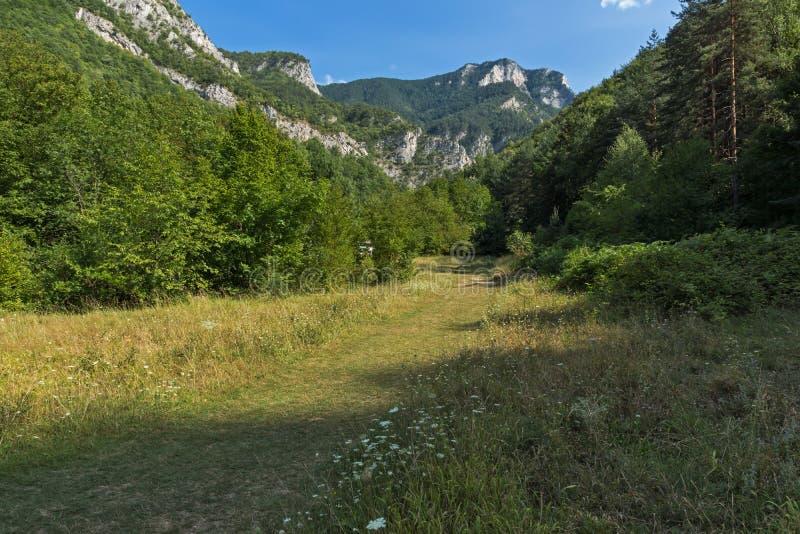 Landscape of The Red Wall peak near Bachkovo Monastery in Rhodope Mountains, Plovdiv Region, Bulgaria. Amazing Landscape of The Red Wall peak near Bachkovo royalty free stock photos