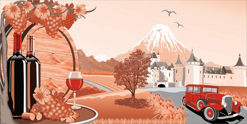Landscape in red-wine, grapes and a wooden barrel for wine. royalty free illustration