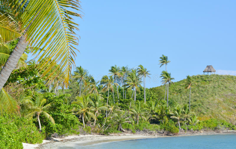 Landscape of a remote tropical beach in Fiji royalty free stock images