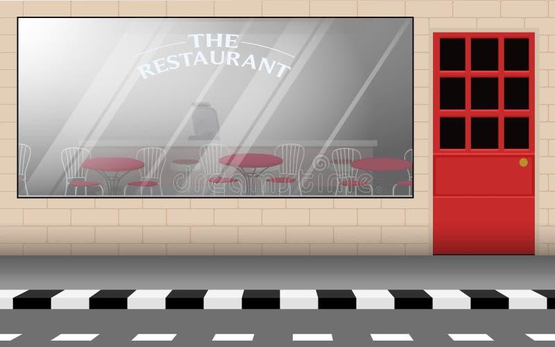 Landscape of road in the city. Landscape of restaurant at roadside in city vector illustration