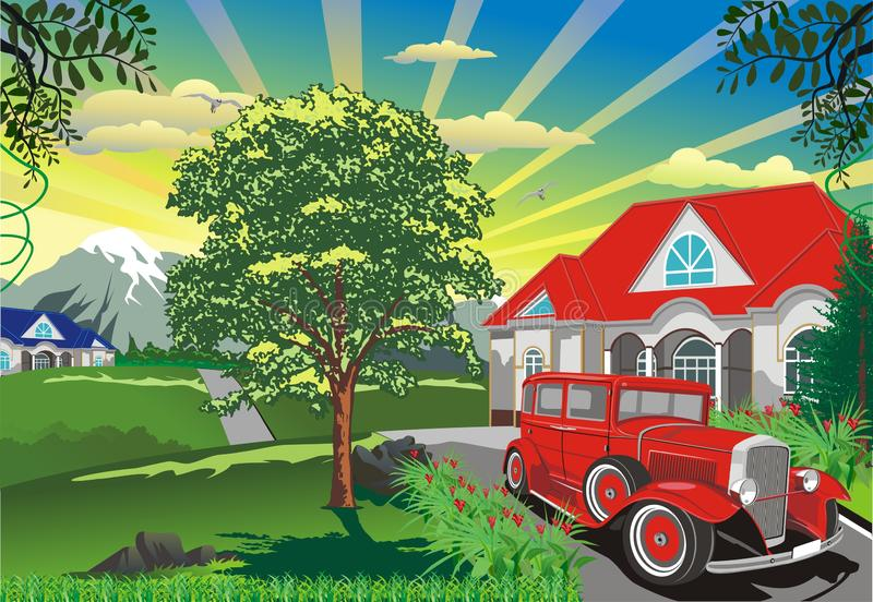 Landscape - A Retro Car Outdoors. In vector stock illustration