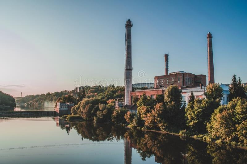 Landscape of river and building with towers stock photos