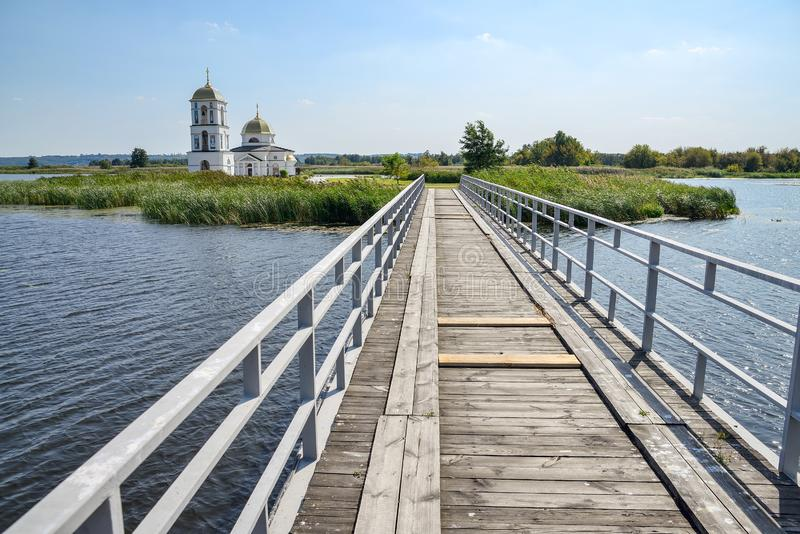 Landscape. The river Dnieper. And the church on the beach stock photos