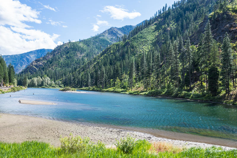 Landscape of River in Forested Mountains. Landscape of turquoise river in evergreen forested mountains, Washington State stock photos
