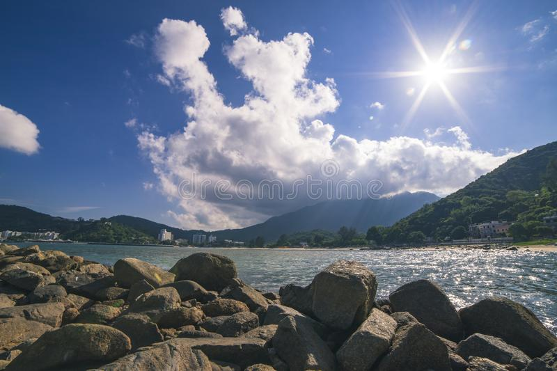 Landscape of River Near Mountain stock photography