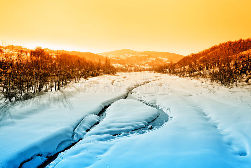 Download Landscape With River And Snow Stock Photo - Image: 34254336