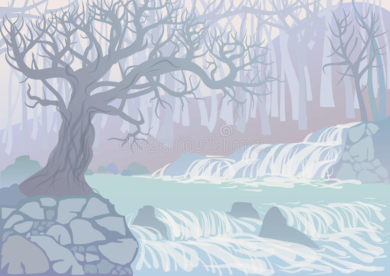 Landscape with river and trees royalty free illustration