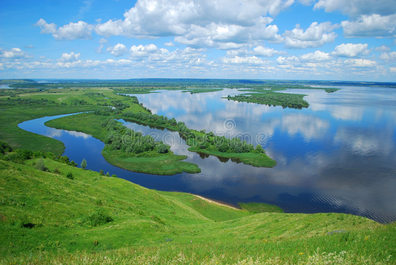 Landscape on the River Volga royalty free stock photography