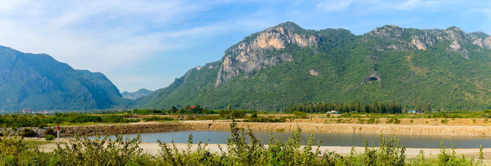 Landscape with rivers and hills in the Khao Sam Roi Yot National park south of hua hin in thailand. The landscape with rivers and hills in the Khao Sam Roi Yot stock photography