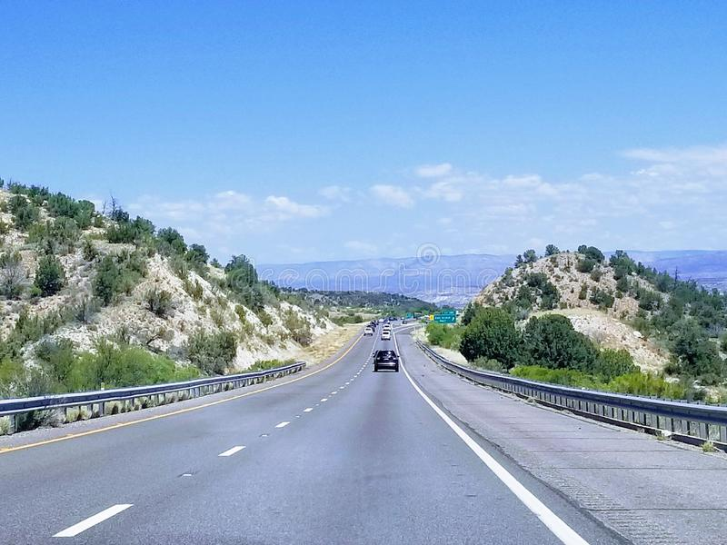 Landscape with road in Arizona USA. Taking a road trip while traveling in Arizona USA. One of the most beautiful roads stock image
