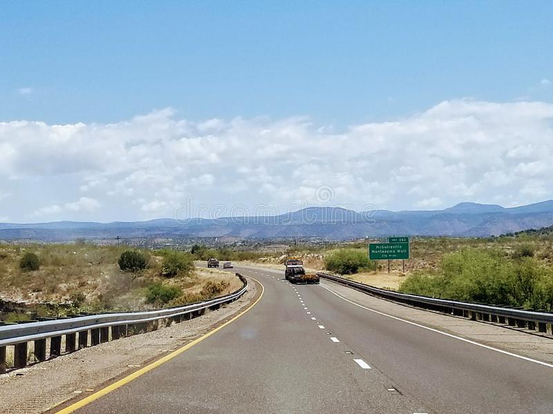 Landscape with road in Arizona USA. Taking a road trip while traveling in Arizona USA. One of the most beautiful roads royalty free stock photo