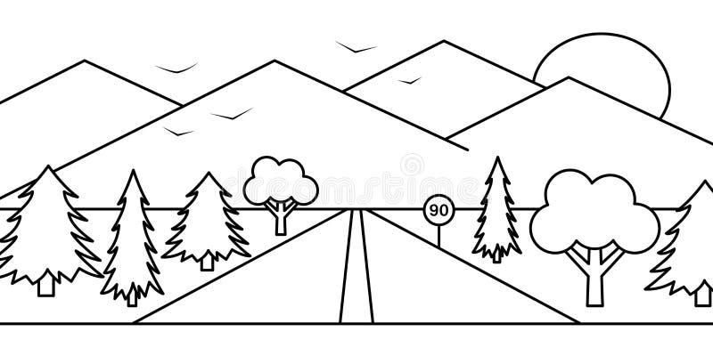 Landscape road forest mountain sun bird illustration vector illustration