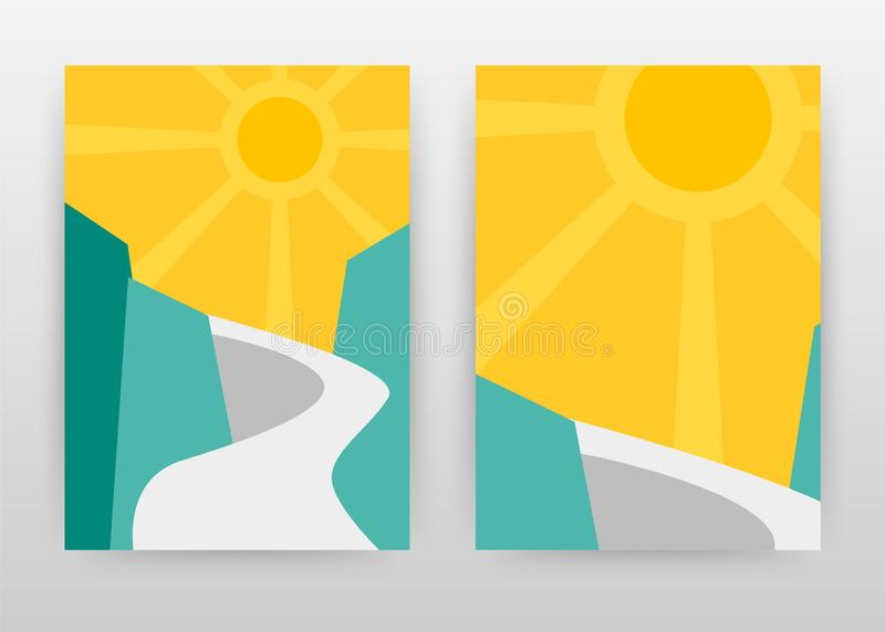 Landscape of road on mountain and sun business design for annual report, brochure, flyer, poster. Landscape background vector stock illustration