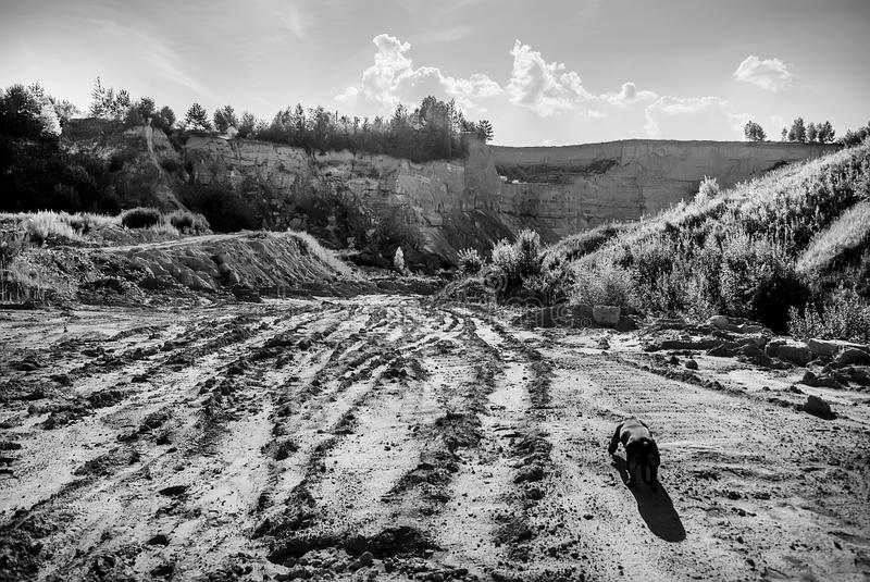 Landscape with a road. To the clay quarry stock photo
