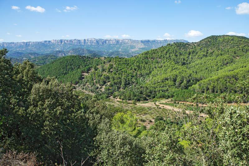 Landscape on a road to Siurana. A famous highland village of the municipality of the Cornudella de Montsant in the comarca of Priorat, Tarragona, Catalonia royalty free stock photography
