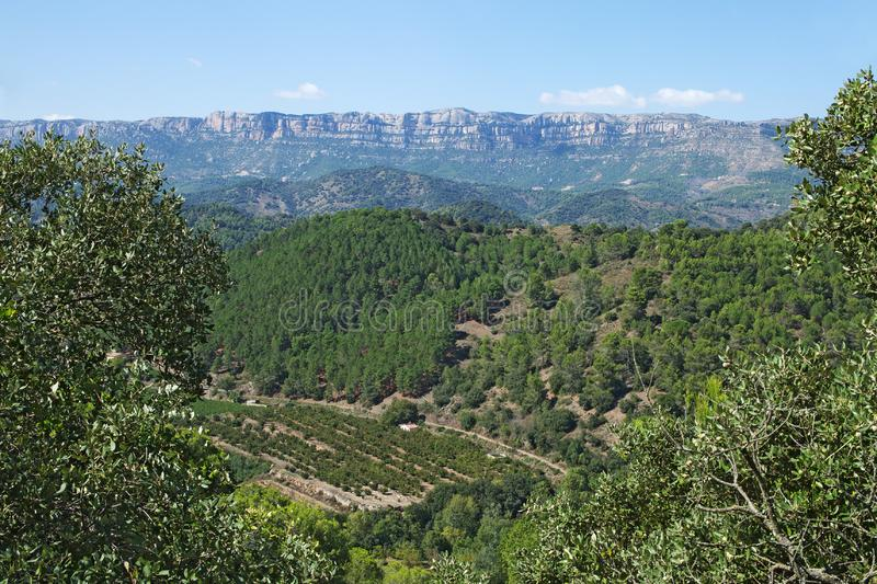 Landscape on a road to Siurana. A famous highland village of the municipality of the Cornudella de Montsant in the comarca of Priorat, Tarragona, Catalonia stock photo