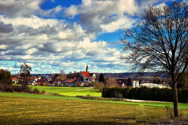 Landscape of the road to town of Fussen near Kirchberg an der Iller. In Schwarzwald in the state of Baden-Württemberg in southwest Germany stock images