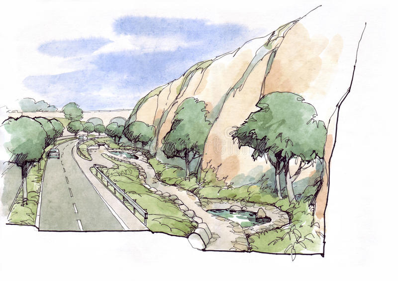 Landscape with rock. Architectural drawing royalty free illustration