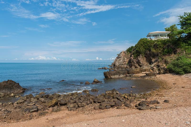 Rock beach and sea, Nang Phaya hill scenic point. Landscape of rock beach and sea, Nang Phaya hill scenic point royalty free stock images