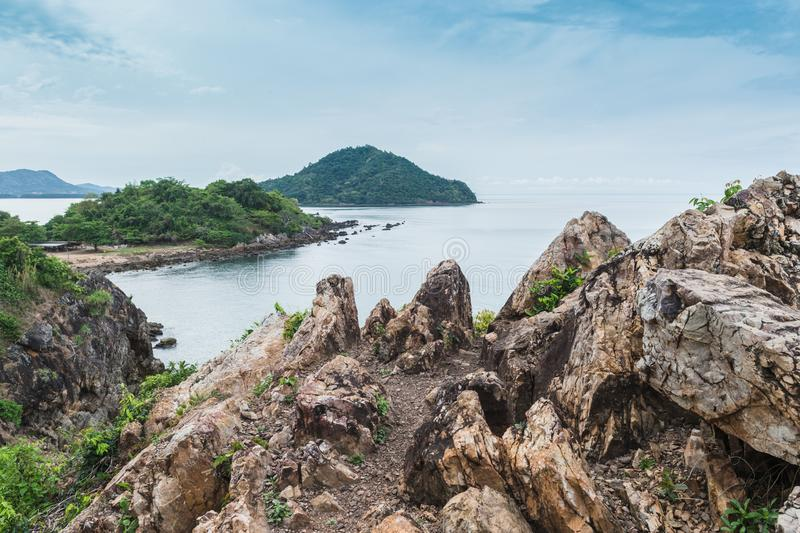 Rock beach and sea, Nang Phaya hill scenic point. Landscape of rock beach and sea, Nang Phaya hill scenic point stock photography