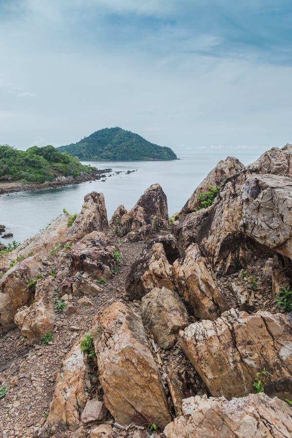 Rock beach and sea, Nang Phaya hill scenic point. Landscape of rock beach and sea, Nang Phaya hill scenic point royalty free stock photography