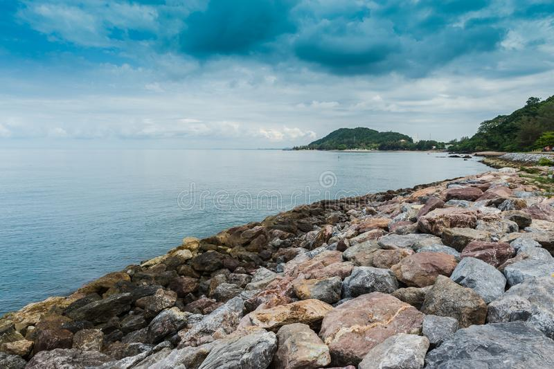 Rock beach and sea, Nang Phaya hill scenic point. Landscape of rock beach and sea, Nang Phaya hill scenic point stock images