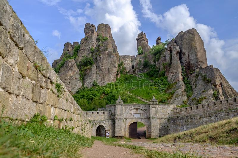 Landscape of a rock fortress against a cloudy sky 5. Landscape of a rock fortress and a cloudy sky 5 royalty free stock photos