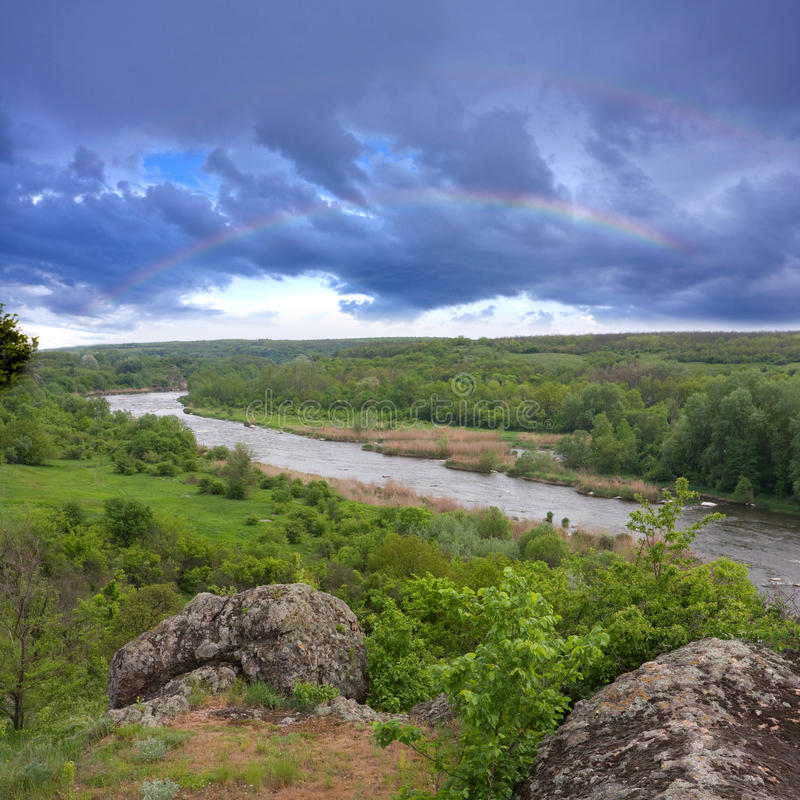 Landscape With Rock And River Royalty Free Stock Photos