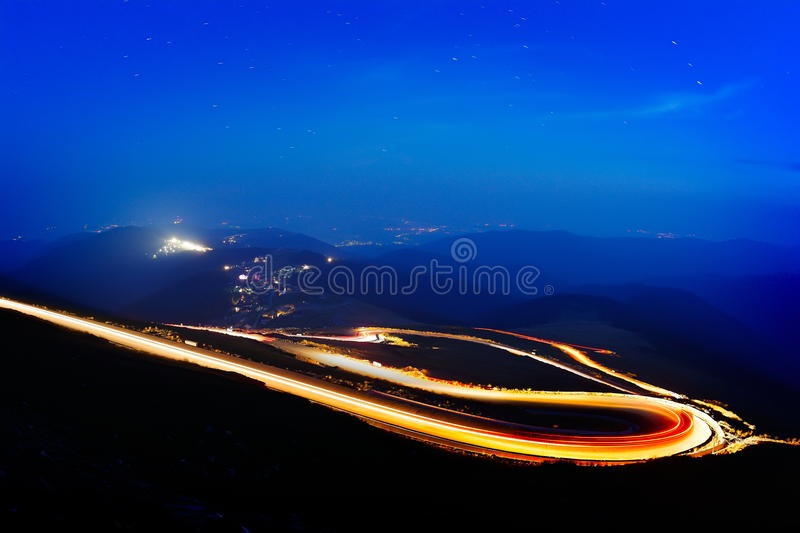 Landscape from the rocky Fagaras mountains in Romania by night royalty free stock image