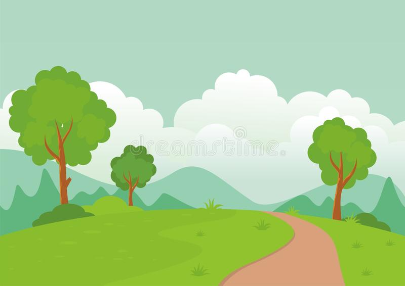 Landscape with rocky hill, Lovely and cute scenery cartoon design. Suitable for wallpaper, background, kid book, game background and other stock illustration