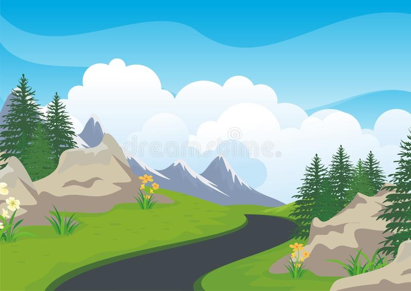 Landscape with rocky hill, Lovely and cute scenery cartoon design. Suitable for wallpaper, background, kid book, game background and other vector illustration