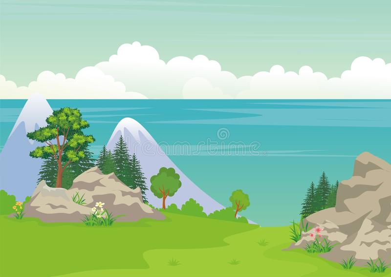 Landscape with rocky hill, Lovely and cute scenery cartoon design. royalty free illustration