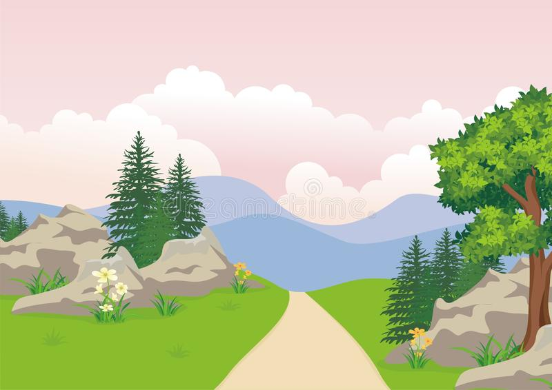 Landscape with rocky hill, Lovely and cute scenery cartoon design. stock illustration