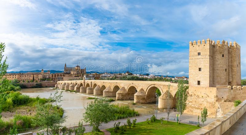 Landscape with Roman bridge and Calahorra Tower in Cordoba, Spain royalty free stock images