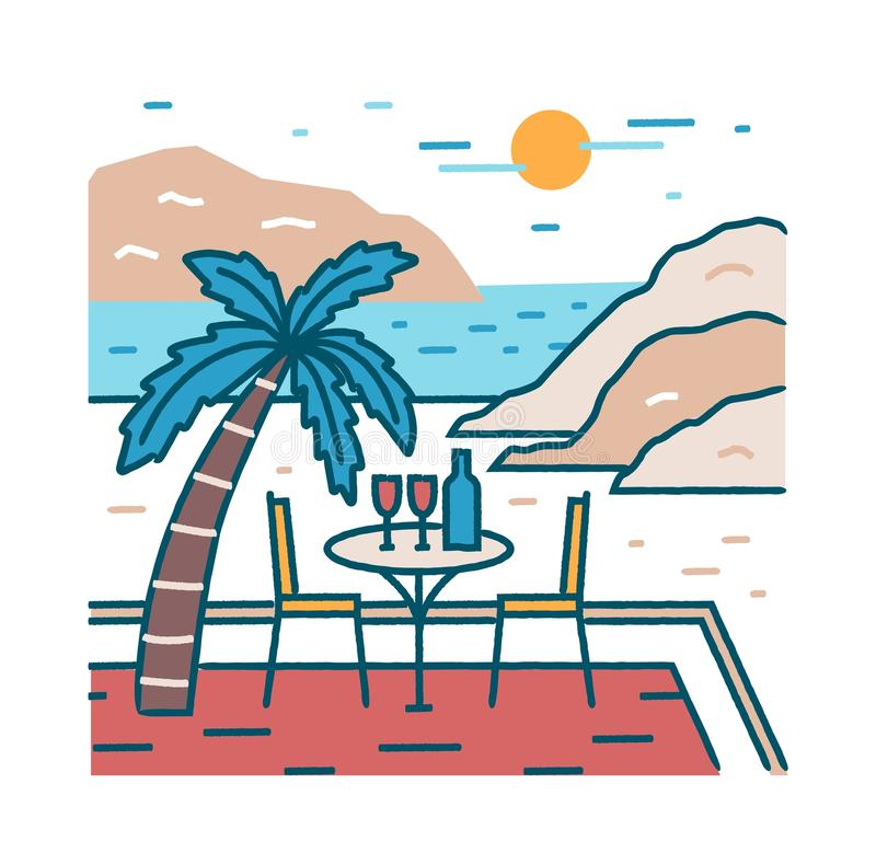 Landscape with romantic restaurant table and glasses of wine at exotic beach against ocean, cliffs and sun on background. Honeymoon at tropical paradise royalty free illustration