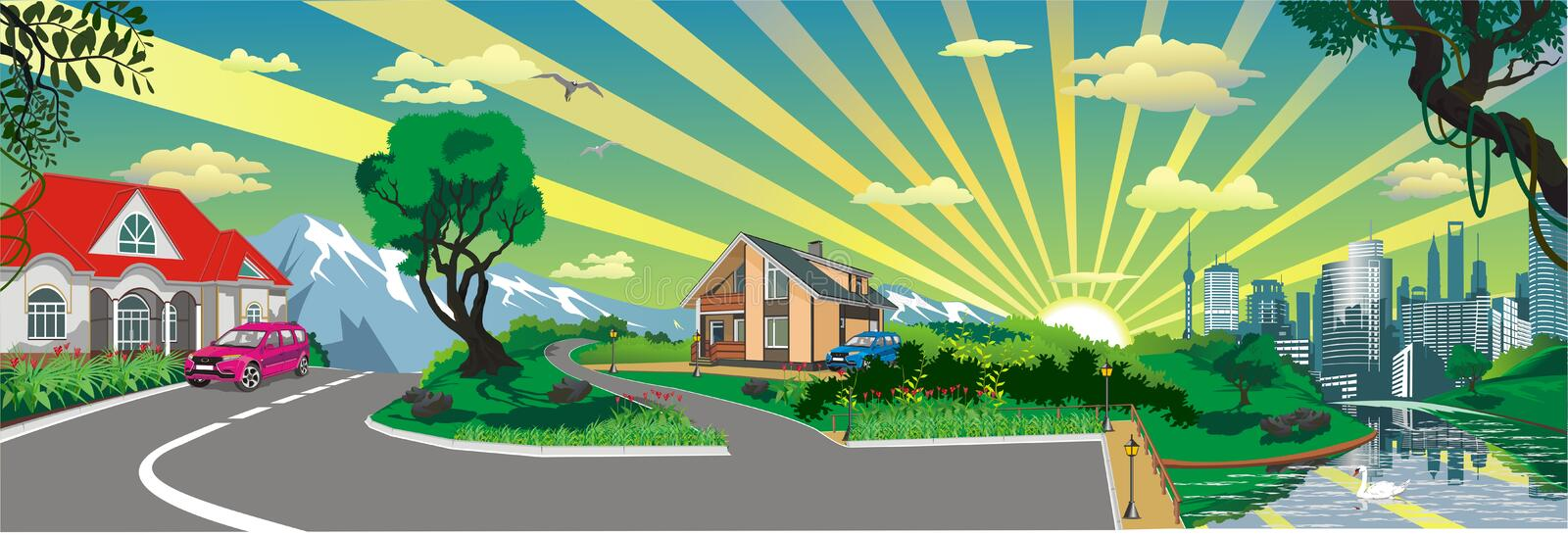 Landscape - rural village at the pond, panorama vector royalty free illustration