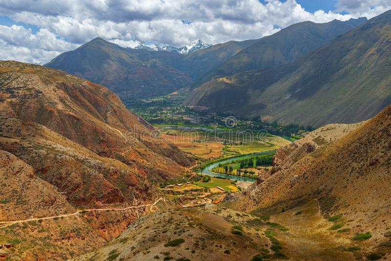 Urubamba River, Sacred Valley of the Inca, Peru. Landscape of the Sacred Valley of the Inca with agriculture fields along the Urubamba river and the Salcantay royalty free stock photo