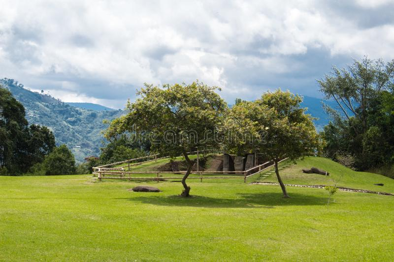 Landscape in San Agustin Archeological park, Huilla, Colombia. Unesco world heritage stock photos
