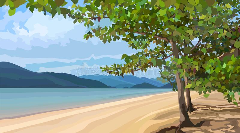 Landscape of a sandy river bank with trees vector illustration